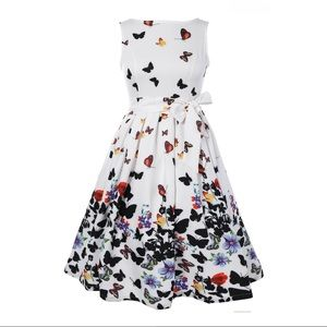 🍒 Retro Butterfly Floral Dress